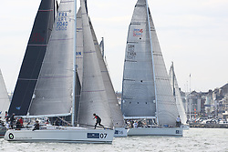 Brewin Dolphin Scottish Series 2014,  an International IRC competition racing on the Solent off Cowes and hosted by the RORC.<br /> <br /> Jamie McGarry and Kevin Sproul onboard the Team Scotland Swan 45, Eala of Rhu start of the Offshore race into the Channel.<br /> <br /> Credit.  Marc Turner