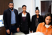 """Black Lightning -- """"The Book of Secrets: Chapter One: Prodigal Son"""" -- Image BLK211b_0481b.jpg -- Pictured (L-R): Cress Williams as Jefferson, Christine Adams as Lynn, Nafessa Williams as Anissa and China Anne McClain as Jennifer -- Photo: Jace Downs/The CW -- © 2019 The CW Network, LLC. All rights reserved"""