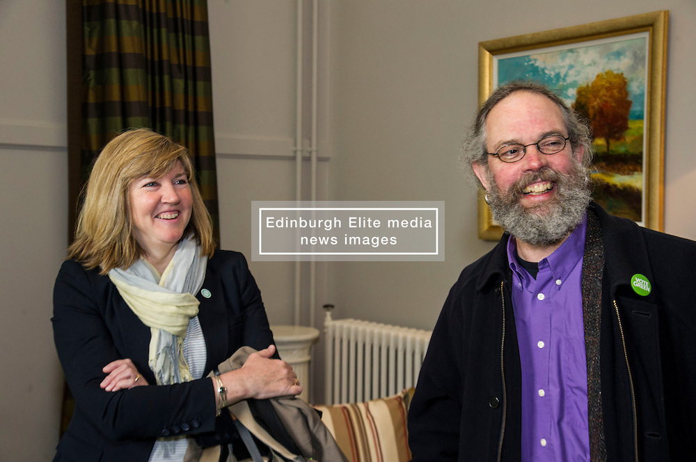 Pictured: Alison Johnstone and Greens candidate for South of Scotland Eurig Scandrett<br /> <br /> Scottish Greens Health and social care spokeswoman Alison Johnstone took the opportunity e to meet staff and visitors at Leuchie House respite centre in North Berwick today.<br /> <br /> Ger Harley | EEm 26 April 2016