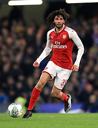 """Arsenal's Mohamed Elneny during the Carabao Cup Semi Final, First Leg match at Stamford Bridge, London. PRESS ASSOCIATION Photo. Picture date: Wednesday January 10, 2018. See PA story SOCCER Chelsea. Photo credit should read: Mike Egerton/PA Wire. RESTRICTIONS: EDITORIAL USE ONLY No use with unauthorised audio, video, data, fixture lists, club/league logos or """"live"""" services. Online in-match use limited to 75 images, no video emulation. No use in betting, games or single club/league/player publications."""