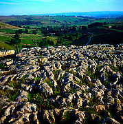 Limestone pavement, above Malham Cove, limestone scenery, Yorkshire Dales national park, England