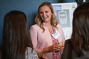 Delaney Stryczek of San Jose Sharks talks with others during the Silicon Valley Business Journal's Women of Influence event at the Fairmont San Jose in San Jose, California, on May 16, 2019. (Stan Olszewski for Silicon Valley Business Journal)