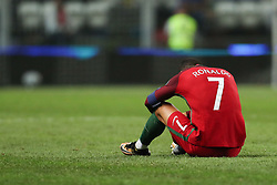 August 31, 2017 - Porto, Porto, Portugal - Portugal's forward Cristiano Ronaldo reacts after suffer hard lack during the FIFA World Cup Russia 2018 qualifier match between Portugal and Faroe Islands at Bessa Sec XXI Stadium on August 31, 2017 in Porto, Portugal. (Credit Image: © Dpi/NurPhoto via ZUMA Press)