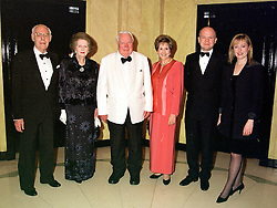 Left to right, SIR DENIS THATCHER, BARONESS THATCHER, SIR EDWARD HEATH, DAME NORMA MAJOR and MR & MRS WILLIAM HAGUE MP,  at a dinner in London on 29th February 2000.OBS 84