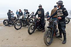 Sushi, Mike Silvioi, Scott Jones and others in the staging area for TROG West - The Race of Gentlemen. Pismo Beach, CA, USA. Saturday October 15, 2016. Photography ©2016 Michael Lichter.