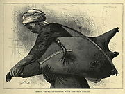 Sakka, Or water carrier with goatskin filled wood engraving From the book 'Picturesque Palestine, Sinai and Egypt : social life in Egypt; a description of the country and its people' with illustrations on Steel and Wood by Wilson, Charles William, Sir, 1836-1905; Lane-Poole, Stanley, 1854-1931. Published by J.S. Virtue in London in 1884