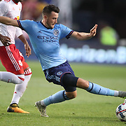 HARRISON, NEW JERSEY- AUGUST 25: Jack Harrison #11 of New York City FC challenges Felipe Martins #8 of New York Red Bulls during the New York Red Bulls Vs New York City FC MLS regular season match at Red Bull Arena, Harrison, New Jersey on August 25, 2017 in Harrison, New Jersey. (Photo by Tim Clayton/Corbis via Getty Images)