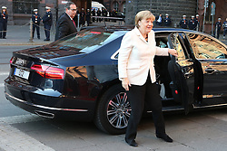 03.10.2015, Frankfurt am Main, GER, Tag der Deutschen Einheit, im Bild Ankunft Bundeskanzlerin Angela Merkel an der Paulskirche // during the celebrations of the 25 th anniversary of German Unity Day in Frankfurt am Main, Germany on 2015/10/03. EXPA Pictures © 2015, PhotoCredit: EXPA/ Eibner-Pressefoto/ Roskaritz<br /> <br /> *****ATTENTION - OUT of GER*****