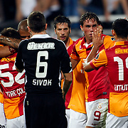 Galatasaray's Johan Elmander (2ndR) with team mate celebrating his goal during their Turkish Superleague soccer derby match Besiktas between Galatasaray at the Inonu Stadium at Dolmabahce in Istanbul Turkey on Thursday, 26 August 2012. Photo by TURKPIX
