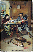 Little Red Riding Hood safe with her grandmother and the woodsman who has killed the wolf. French trade card c1900 illustrating the fairy tale by the French author Charles Perrault (1628-1703).  Literature Juvenile  Chromolithograph