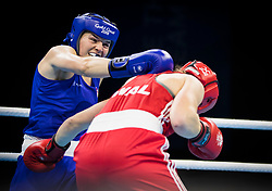 Wales' Rosie Eccles (red) v England's Sandy Ryan (blue) during the Woman's Welter (64-69kg) final at Oxenford Studios during day ten of the 2018 Commonwealth Games in the Gold Coast, Australia.