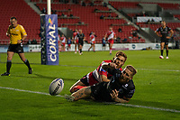Rugby League - 2020/2021 Coral Challenge Cup - Quarter-final - Catalan Dragons vs Salford Red Devils<br /> <br /> Salford Red Devils's Kris Welham chases down Catalans Dragons's Sam Tomkins, at the TW Stadium.<br /> <br /> COLORSPORT/TERRY DONNELLY