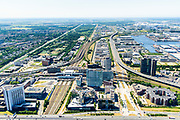 Nederland, Noord-Holland, Amsterdam, 29-06-2018; Westpoort, Sloterdijk, omgeving Station Sloterdijk met Casino, UWV, West-Randweg A5, Hemboog, Basisweg.<br /> Surroundings Sloterdijk Station.<br /> <br /> luchtfoto (toeslag op standard tarieven);<br /> aerial photo (additional fee required);<br /> copyright foto/photo Siebe Swart
