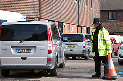 © Licensed to London News Pictures. 21/03/2018. Salisbury, UK. A convoy carrying Investigators from the Organisation for the Prohibition of Chemical Weapons (OPCW)  arrives at The Mill pub in Salisbury aspolice continue their investigation after former Russian spy Sergei Skripal was taken after he and his daughter Yulia were poisoned with nerve agent. The couple where found unconscious on bench in Salisbury shopping centre. A policeman who went to their aid is currently recovering in hospital. Photo credit: Peter Macdiarmid/LNP