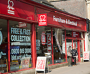 British Heart Foundation charity shop for furniture and electrical items town centre of Chippenham, Wiltshire, England, UK
