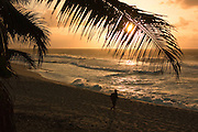 Man jogging at sunset on the north shore of Oahu, HI