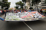 MEXICO CITY.- Thousands of unionized teachers from the National Coordinator of Education Workers (CNTE, by its initials in spanish) blocked the most important avenues in central Mexico City on August 21st, 2013. Teachers from Oaxaca, Guerrero, Michoacán, Chiapas and Mexico City announced a strike against Enrique Peña Nieto's Educational Reform.   (Photo: Prometeo Lucero)