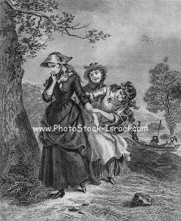 Girls play outdoors Artwork from Godey's Lady's Book and Magazine, 1880, Published in Philadelphia, USA by Louis A. Godey, Sarah Josepha Hale,