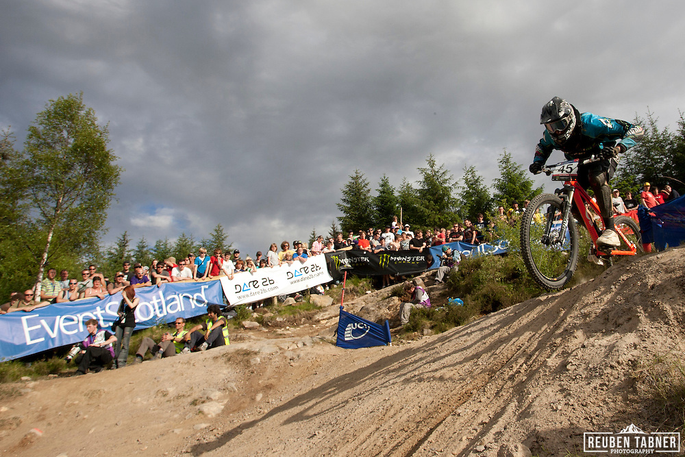 Peter warner (GBR) during the 1/8 finals of the men's Four Cross (4X) at the UCI Mountain Bike World Cup in Fort William, Scotland.