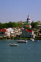 Annapolis, Maryland--A view of Annapolis, Spa Creek and the Maryland State House --Annapolis the State Capital of Maryland is home to the oldest state house still in legislative use. It was designated a National Historic Landmark in 1960.