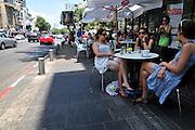 Israel, Tel Aviv, King George street outdoor cafe