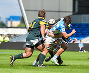 Argentina's Mariano Romanini drives through the South African defence during the World Rugby U20 Championship 3rd Place play-off  match Argentina U20 -V- South Africa U20 at The AJ Bell Stadium, Salford, Greater Manchester, England on Saturday, June 25, 2016.(Steve Flynn/Image of Sport)