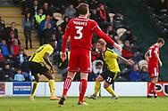 Burton Albion midfielder David Templeton (11) scores a goal  and celebrates 4-3 during the EFL Sky Bet League 1 match between Burton Albion and Accrington Stanley at the Pirelli Stadium, Burton upon Trent, England on 23 March 2019.