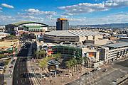 PHOENIX, USA - FEBRUARY 4: View of US Airways Center and Chase Field on February 4, 2014 in Phoenix, Arizona. Chase Field is the home of the Arizona Diamondbacks.  US Airways Center is the home of the  Phoenix Suns, Phoenix Mercury, and Arizona Rattlers.
