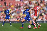 Football - 2021 / 2022 Women's Super League - Arsenal vs Chelsea - Emirates Stadium - Sunday 5th September 2021<br /> <br /> Arsenal Women's Noelle Maritz holds off the challenge from Chelsea FC Women's Guro Reiten.<br /> <br /> COLORSPORT/Ashley Western