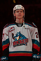 KELOWNA, BC - FEBRUARY 15: Jonas Peterek #27 of the Kelowna Rockets stands on the blue line at the start of the game against the Red Deer Rebels at Prospera Place on February 15, 2020 in Kelowna, Canada. (Photo by Marissa Baecker/Shoot the Breeze)