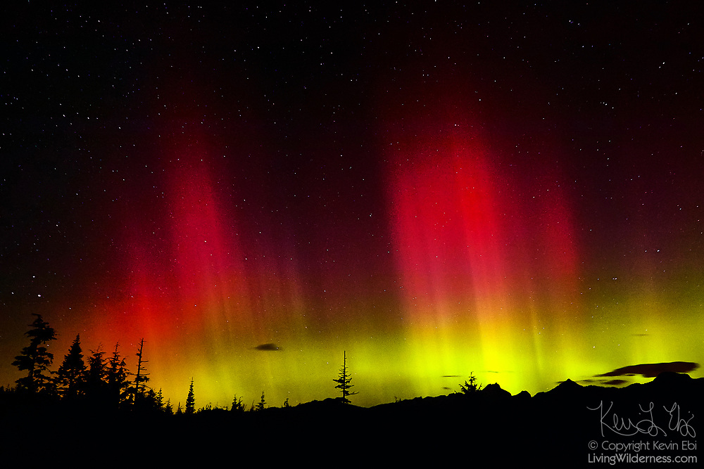 One of the largest solar flares on record caused this spectacular display of the northern lights (aurora borealis) over Three Fingers Mountain, Liberty Peak, Whitehorse Mountain and other peaks in Washington's North Cascades.