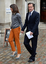 © Licensed to London News Pictures. 03/05/2012. Westminster, UK British Prime Minister David Cameron and his wife Samantha Cameron arrive to vote at Central Methodist Hall in the Mayoral Elections in London today 3rd May 2012 . Photo credit : Stephen Simpson/LNP