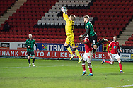 Charlton's Goalkeeper Ben Amos takes the ball safely in the air during the EFL Sky Bet League 1 match between Charlton Athletic and Rochdale at The Valley, London, England on 12 January 2021.