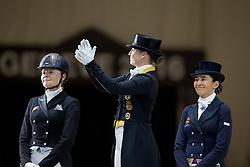Podium WDM, Isabell Werth, Krinke-Susmelj Marcela, Beatriz Fereer Salat<br /> World Dressage Masters<br /> CHI de Genève 2016<br /> © Hippo Foto - Dirk Caremans<br /> 10/12/2016