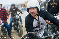 Jeremiah Armenta in the pits at TROG West - The Race of Gentlemen. Pismo Beach, CA, USA. Saturday October 15, 2016. Photography ©2016 Michael Lichter.