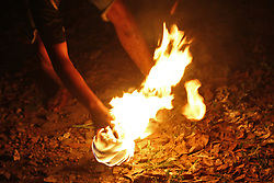 June 17, 2017 - Surabaya, East Java, Indonesia - Sepak bola api, or the fireball  game is a unique game Indonesians play to welcome the month of Ramadan. It's a lot like football only they have to kick a flaming fireball. (Credit Image: © Sholaita Iriawan/Pacific Press via ZUMA Wire)