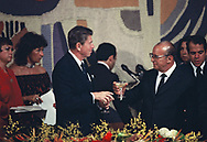 President Ronald Reagan at a dinner hosted by  Brazilian President Joao Baptista de Oliveira Figueiredo in Brasilia on December 1, 1982<br />Photo by Dennis Brack