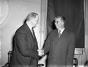 Taoiseach, Mr Éamon de Valera, receives Professor Christopherson, 24/01/1958. Sir Derman Guy Christopherson OBE FRS FREng (06/09/1915 – 07/11/2000) was a engineering science academic.