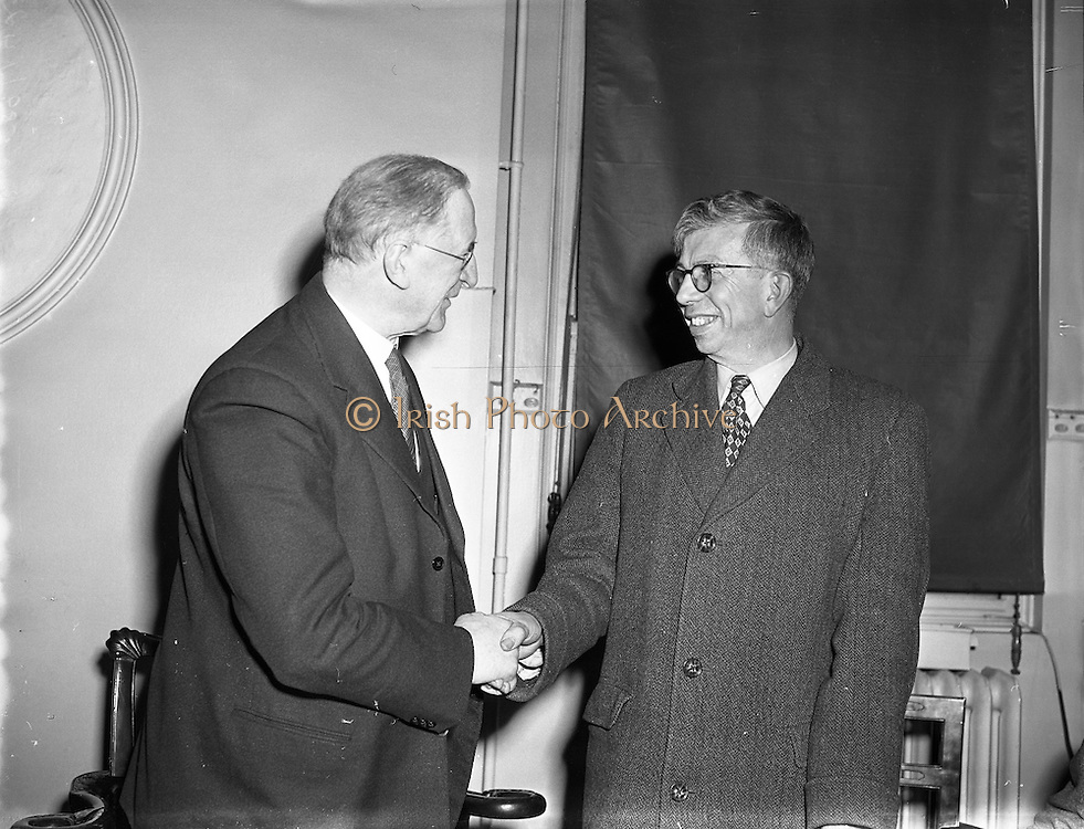 Taoiseach, Mr Éamon de Valera, receives Professor Christopherson, 24/01/1958. Sir Derman Guy Christopherson OBE FRS FREng (06/09/1915 – 07/11/2000) was a engineering science academic.