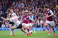 Aston Villa defender Jordan Amavi (23) challenges Fulham defender Tomas Kalas (26) during the EFL Sky Bet Championship match between Fulham and Aston Villa at Craven Cottage, London, England on 17 April 2017. Photo by Jon Bromley.