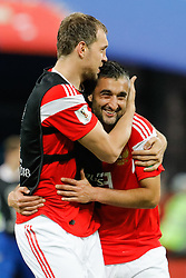 June 19, 2018 - Saint Petersburg, Russia - Artem Dzyuba (L) and Alexander Samedov of Russia national team celebrate victory during the 2018 FIFA World Cup Russia group A match between Russia and Egypt on June 19, 2018 at Saint Petersburg Stadium in Saint Petersburg, Russia. (Credit Image: © Mike Kireev/NurPhoto via ZUMA Press)