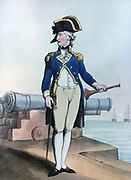 Lieutenant of the Watch 1799.  Print by Thomas Rowlandson (1756-1827). Aquatint.
