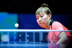 May 5, 2018 - Halmstad, SVERIGE - 180505 Kinas Yuling Zhu i damernas final mellan Kina och Japan under dag 7 av Lag-VM i Bordtennis den 5 maj 2018 i Halmstad  (Credit Image: © Carl Sandin/Bildbyran via ZUMA Press)