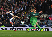Football - 2016 / 2017 World Cup Qualifier - UEFA Group F: Scotland vs. Slovenia<br /> <br /> James Forrest of Scotland has a shot on goal during the match at Hampden Park.<br /> <br /> COLORSPORT