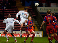 Photo: Alan Crowhurst.<br />Crystal Palace v Swindon Town. The FA Cup. 06/01/2007. Swindon's Lucas Jutkiewicz goes close with a header.