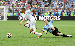 NIZHNY NOVGOROD, July 6, 2018  Diego Laxalt (R) of Uruguay vies with Kylian Mbappe of France during the 2018 FIFA World Cup quarter-final match between Uruguay and France in Nizhny Novgorod, Russia, July 6, 2018. (Credit Image: © Chen Cheng/Xinhua via ZUMA Wire)