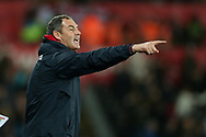 Paul Clement, the Swansea city manager, pointing from the touchline.  EFL Carabao Cup 4th round match, Swansea city v Manchester Utd at the Liberty Stadium in Swansea, South Wales on Tuesday 24th October 2017.<br /> pic by  Andrew Orchard, Andrew Orchard sports photography.