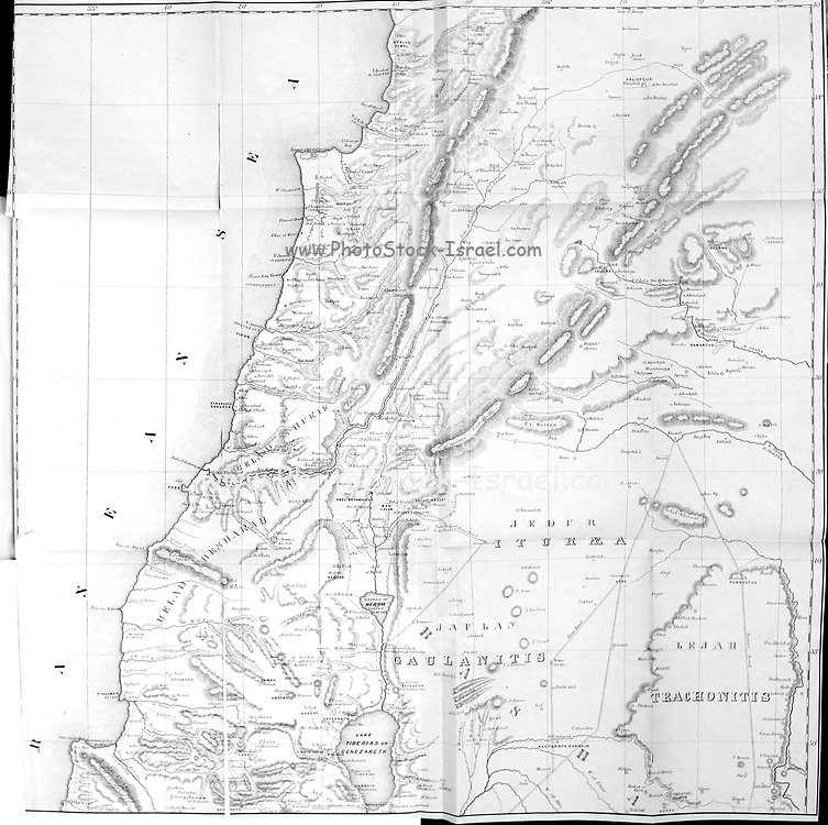 Map of Palestine [Lebanon and Galilee] from the book 'Palestine, past and present' with Biblical, Literary and Scientific Notices by Rev. Osborn, H. S. (Henry Stafford), 1823-1894 Published in Philadelphia, by J. Challen & son; in 1859