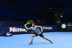 November 11, 2017 - London, England, United Kingdom - David Goffin of Belgium in action during a training session prior to the the Nitto ATP World Tour Finals at O2 Arena, London on November 11, 2017. (Credit Image: © Alberto Pezzali/NurPhoto via ZUMA Press)