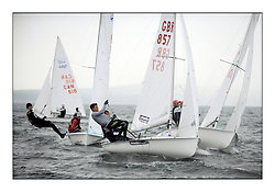 470 Class European Championships Largs - Day 1.Racing in grey and variable conditions on the Clyde..GBR857, Ben SAXTON, Richard MASON, Royal Thames YC